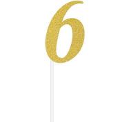 Milestone Gold Glitter Birthday Cake Topper Age 6