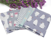 Kingko® 5PCS Different Colour Floral/Animals Printed Fabric Linen-Cotton Printed Boundle Patchwork CraSquare fts Of 50*40 cm for Wallet Purse Doll Children Bed Textile