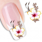 Skyeye Fashion Water Transfer Flower Decal Women Stickers Nail Art Acrylic Manicure Tips Multicolor