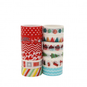 Washi Tape Set of 12 Rolls With Christmas Colourful Designs and Patterns,for DIY Crafts,Craft Scrapbooking,Journal, Planner, Gift Wrapping