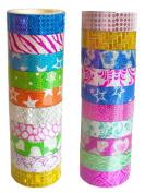 ShenTan 10PCS Self Adhesive Glitter Washi Masking Tape Sticker Craft DIY Decor