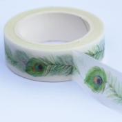 Peacock Feather Themed Decorative Adhesive Washi Masking Tape 8m