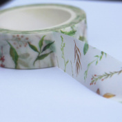 Colourful Ferns and Flowers Decorative Washi Paper Tape - 8m Craft Botanical