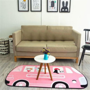 LYP-carpes modern European style living room Children's Room Rug Pink Bus Carpet Bed Bedside Blanket Non-slip Childrens Large Farmyard Play Mat Children Room Crawling MatMachine Washable Carpet Machine Washable Carpet (100*150cm) Washed coffee table Be ..