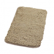 MagiDeal Absorbent Chenille Floor Mat Anti-Skid Bath Mat Bathroom Shower Door Rugs Carpet - Light Tan, 40x60cm