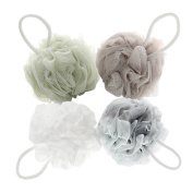 Mesh Bath and Shower Sponge Pack of 4 (60g/pcs) Eco-friendly Exfoliating Mesh Brush Pouffe Bath Shower Ball Sponge - Full Lather Cleanse - Exfoliate with Beauty Bathing Accessories