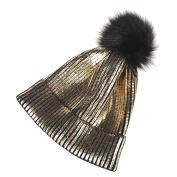 Tinksky Womens Beanie Hats Knitted Winter Hats with Fur Pom Pom Hats Cap Metallic Shiny Beanie for Women Girl Christmas Party Hats