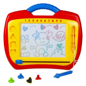 Magnetic Drawing Board Plastic Doodle Sketch Erasable Scribbler with Four Colourful Shape Stamps for Boys Girls Kids Children