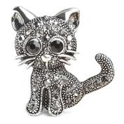 Lalang Crystal Cat Brooches Pins Christmas Wedding Gift for Women
