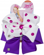 JoJo Bows Signature Collection 2 x Large Hair Bows - Limited Edition - Best Present for Your Little Girl – White Pink / Crystal Purple