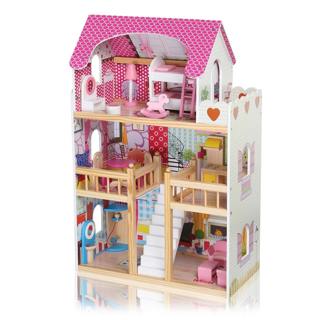 Baby Vivo Wooden Kids Doll House Dollhouse Staircase Barbie Dolls Furniture Cottage Children Toys Accessories Miniature Rosalie