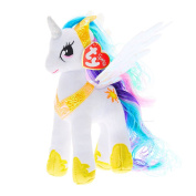 Claire's Girl's TY My Little Pony Small Princess Celestia Soft Toy in White/Gold.
