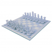 TICHI 32 Pieces Beautifully Crafted Glass Frosted Traditional Chess Set with High Quality Material 19.5cm x 19.5cm
