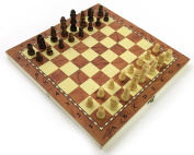 Chess Set Fold Away Board Quality Handmade Wooden Pieces Complete FIDE Compliant Stimulate Your Brain Exercise Your Mind 24cm x 24cm