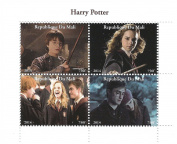 Harry Potter movie 2014 stamp sheet for collectors with Harry, Ron and Hermione Granger - 4 stamps / Mali