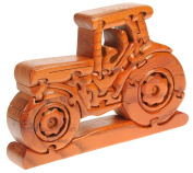 Tractor Wooden 3D Puzzles for adults & kids : Novelty Xmas jigsaw gift Ideas for men, boys & farmers. Fun Christmas Present and ornament! Top IQ brain teaser puzzle handmade from wood