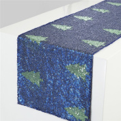 TRLYC 30cm x 270cm Navy Blue Christmas Tree Pattern Sequin Table Runner For Wedding Party And Events