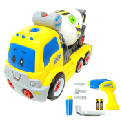 Take Apart Toy Cement Mixer Truck TG650 – Take-Apart Cement Mixer Boys Toy with Working Drill & Moving Parts – Toddler Toy For Boys & Girls Aged 3, 4, 5, 6 - By ThinkGizmos