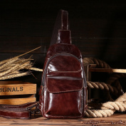 Fashion Male Chest Top Leather Oil Wax Leather High-End Casual Men Bag Messenger Bag , brown