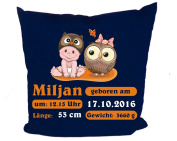 Cushion cover Kleiner FRATZ & Friends Owl with Individual Birth Record
