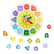 Wooden Toys Teaching Clock Education Numbers and Shapes Sorting Blocks