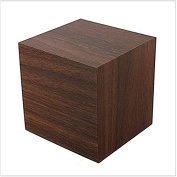 LanLan Digital Square Cube Mini Brown Wood Red LED Light Alarm Clock with Time and Temperature Display & Sound Control
