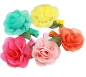 Furnido 5 Pcs Kids Girls Chiffon Rose Flower Hair Clips Hairpin Alligator Hair Barrettes Hair Decoration Accessories Random Colour