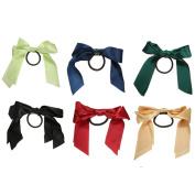 6 Pcs Women Girls Multicolor Satin Ribbon Bowknot Hair Bow Ponytail Holder Hair Band Rope Hair Tie Bands