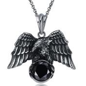 Uniqstore Eagle Black Zircon Ancient Silver Retro Necklace Unisex