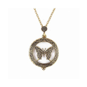 Bobury Hollow Insect Butterfly Pendants Necklaces Magnifying Glass Women Long Chain Necklace