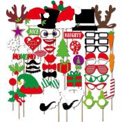 27pcs Christmas Santa Hat Party Masks Photo Booth Props Moustache On A Stick (50pcs) by hjuns