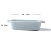 Creative western oven baked rice dishes pizza pan rectangle ceramic binaural cheese baking bowl-G
