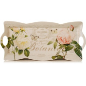 Tray with Roses Motif and Curved Rim 42 x 20 cm