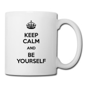 BEDOO Keep Calm And Be Yourself Coffee Cups White