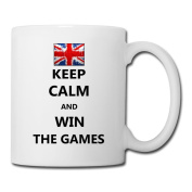 BEDOO Keep Calm Win The Games UK Coffee Cups White