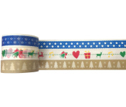 Christmas Washi Trio – Blue Star Snowflake, Green Christmas Tree & Translucent Christmas Pattern