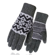 DROVE Mens Winter Thickening Knitted Snowflake Pattern Gloves - Dark Grey