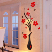 Wall stickers, KEERADS DIY Vase Flower Tree Crystal Arcylic 3D Wall Stickers Home Window Wall Decal Decor
