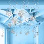 LUOEM Snowflake Hanging Decorations Foil Swirls Christmas Winter Party Decorations