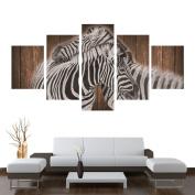 Sundlight Zebra Canvas Wall 5pcs Panels Modern Landscape on the Board Frameless Spray Paintings Artwork for Home Wall Decor