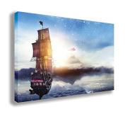 JOLLY ROGER PETER PAN PIRATE SHIP CANVAS WALL ART