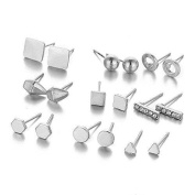Sexy Sparkles 9 Pairs Small Silver Tone Stud Earrings Ear Posts Womens Girls Assorted