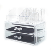 Ktaxon Acrylic Cosmetic Table Organiser Makeup Holder Case Box Jewellery Storage,2 Drawer