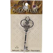 Steampunk Metal Pendant 1pk, Giant Fancy Key Silver