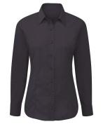 Alexandra STC-NF90BK-10 Easy-care Women's Long Sleeve Shirt, Plain, 65% Polyester/35% Cotton, Size 10, Black
