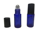 Empty 6 Pcs Blue Glass 5ml Roller Bottles Refillable Essential Oil Metal Roller Ball Bottles Perfume Lotion Sample Roller Glass Bottles With Plastic Black Caps