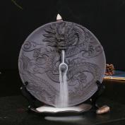 Ceramic Incense Holder Incense Burner Backflow Censer with 10pcs Sandalwood Incense (Dragon)