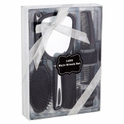 Hair Brush, Comb, Mirror and Hair Accessories Gift Set, Black, 14 pcs