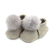 Newborn Baby Shoes, Stillshine Furry Pompom Soft Sole Toddle Anti-slip Shoes First Walking Shoes 0~18 Month