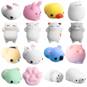 HUHU833 16pcs Cute Mochi Squishy Squeeze Healing Fun Kids Kawaii Toy